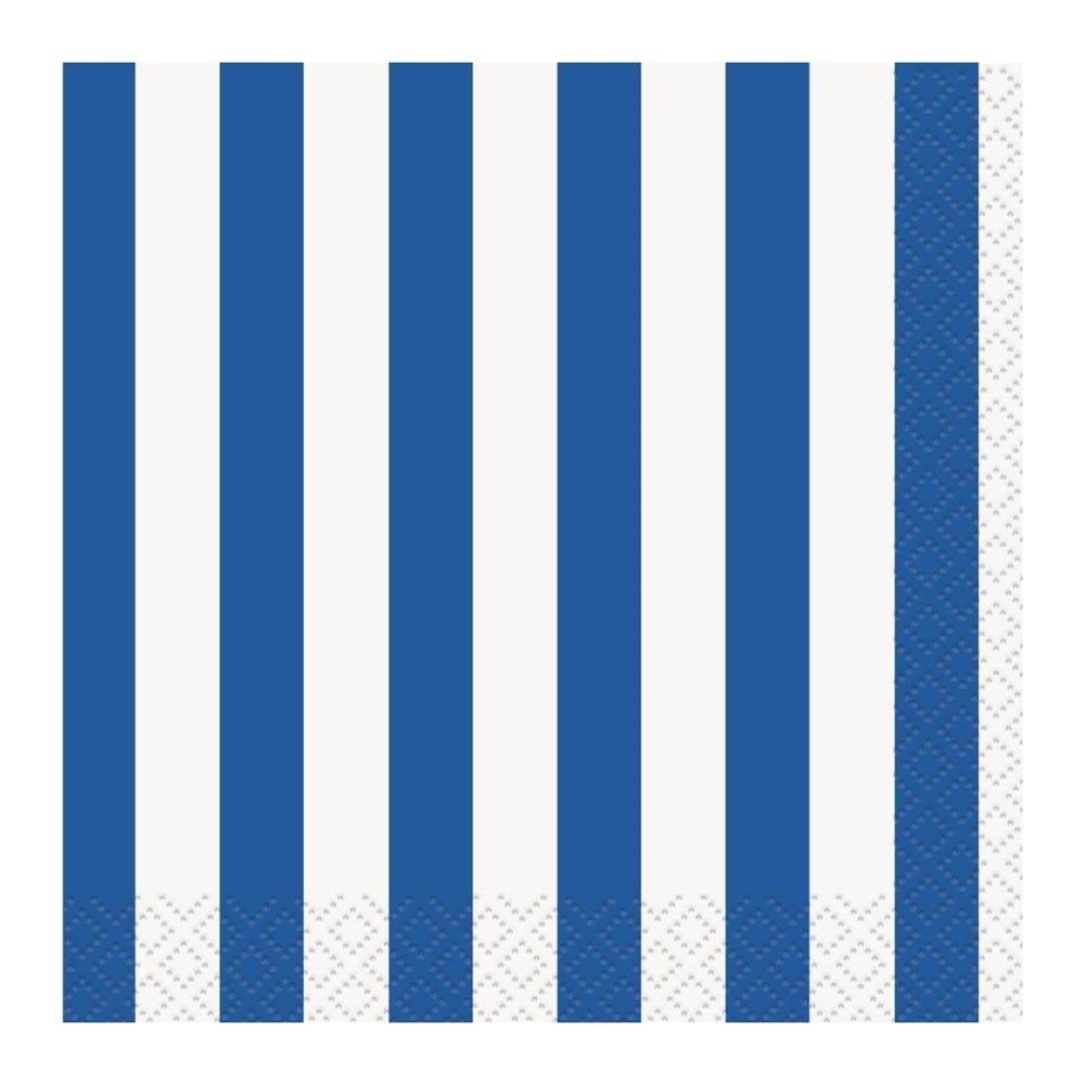 Juego de 16 Servilletas Cocktail Rayas Azul Royal