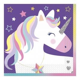 Juego de 16 servilletas de papel de unicornio