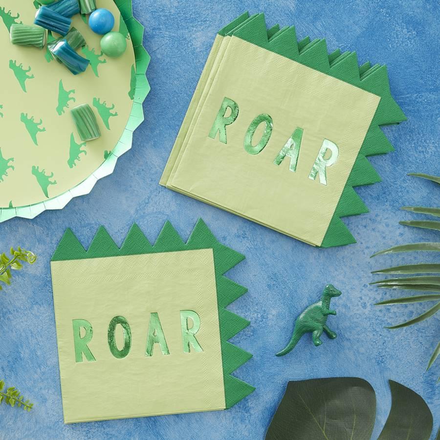 Juego de 16 Servilletas Dinosaurios