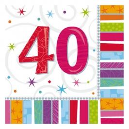Juego de 16 servilletas felices 40