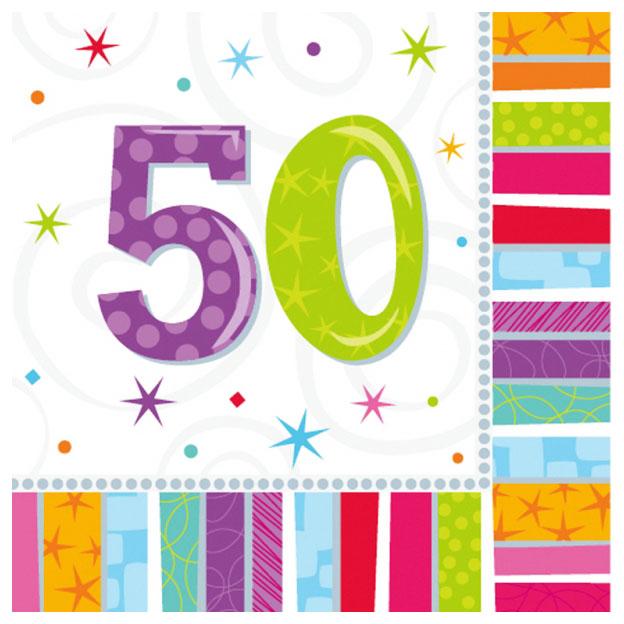 Juego de 16 servilletas felices 50
