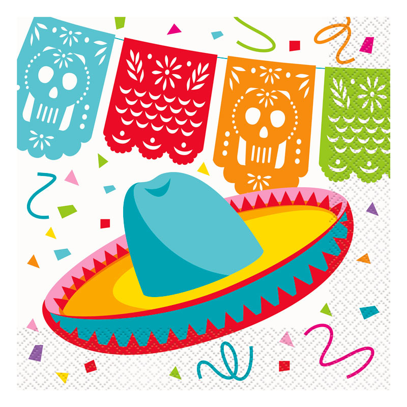 Juego de 16 Servilletas Fiesta Mexicana