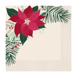 Juego de 16 Servilletas Flor de Navidad