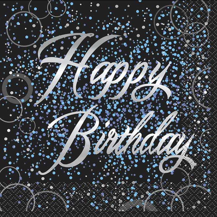 Juego de 16 Servilletas Happy Birthday Azul