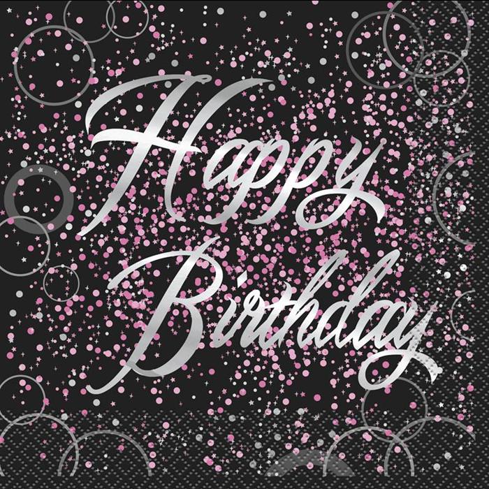 Juego de 16 Servilletas Happy Birthday Rosa