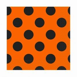 Juego de 16 servilletas naranjas con lunares negros