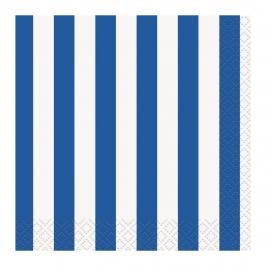 Juego de 16 Servilletas Rayas Azul Royal