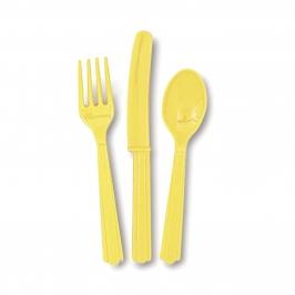 Juego de 18 Cubiertos de Plástico Amarillo Claro