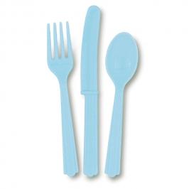 Juego de 18 Cubiertos de Plástico Azul Claro