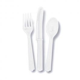 Juego de 18 Cubiertos de Plástico Blancos