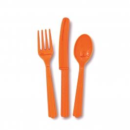 Juego de 18 Cubiertos de Plástico Naranjas