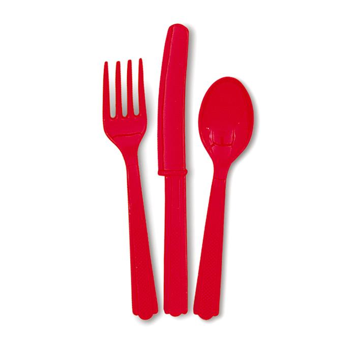 Juego de 18 Cubiertos de Plástico Rojos