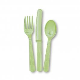 Juego de 18 cubiertos de plástico Verde Pastel