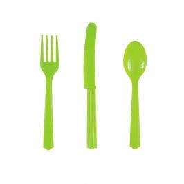 Juego de 18 Cubiertos de Plástico Verde Pistacho