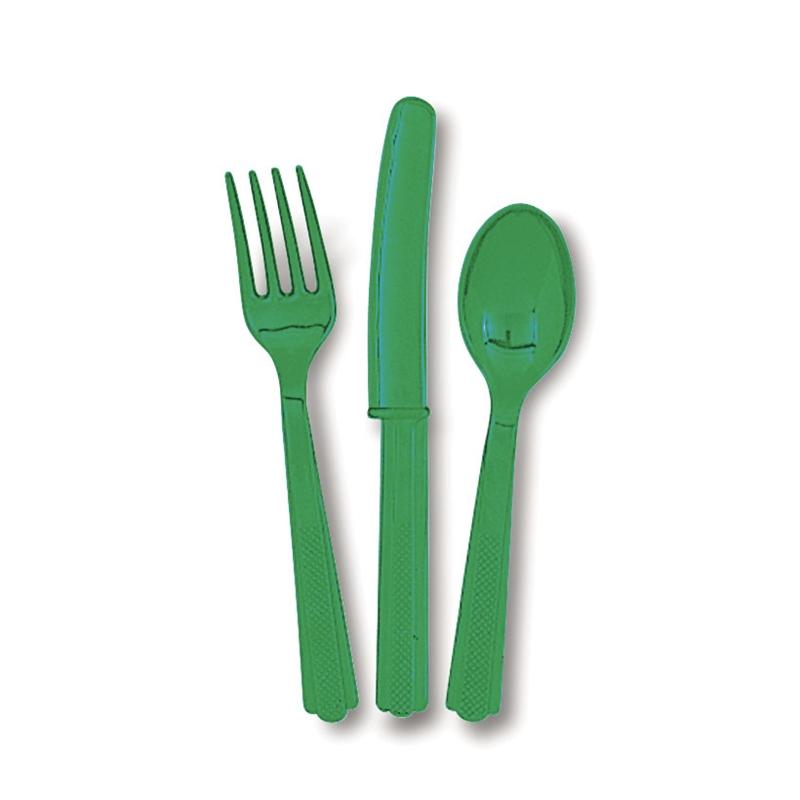 Juego de 18 cubiertos de plástico Verde