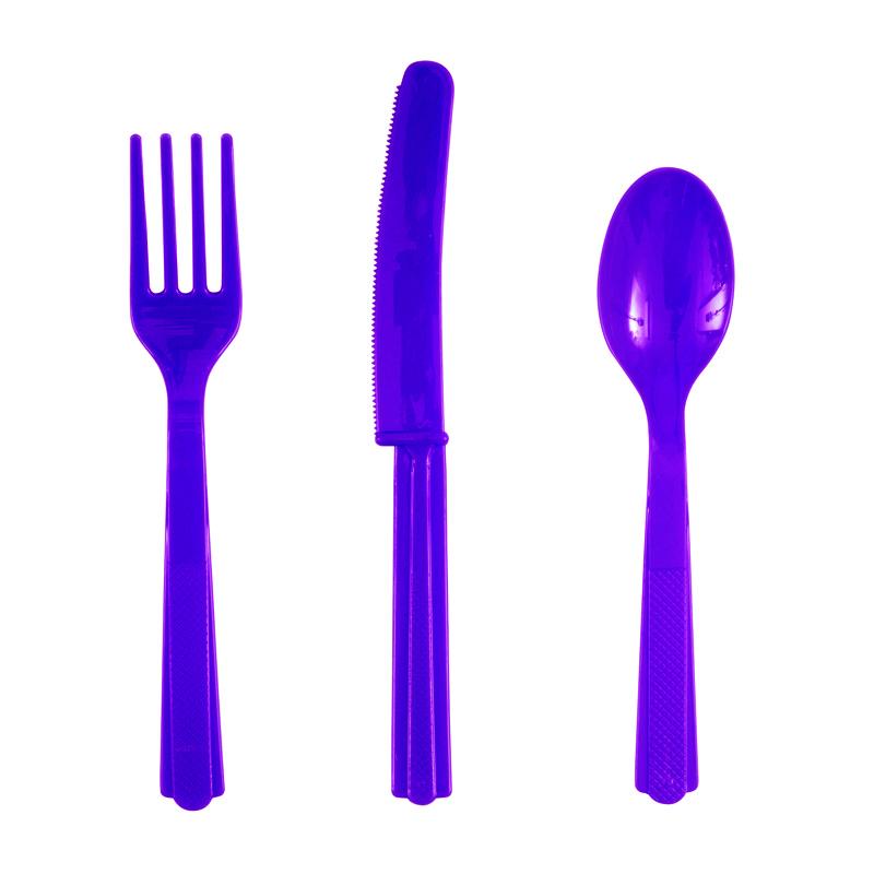 Juego de 18 Cubiertos de Plástico Violetas