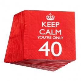 Juego de 20 servilletas 40 cumpleaños
