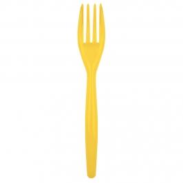 Juego de 20 tenedores de plástico en amarillo