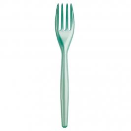 Juego de 20 tenedores de plástico en turquesa perlado