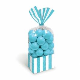 Juego de 10 bolsas para dulces celestes y blancas