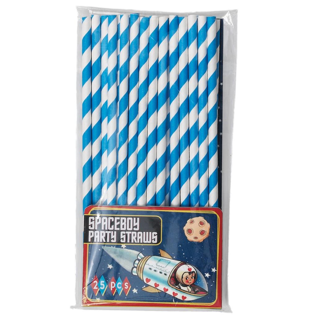 Juego de 25 Pajitas Azul Vintage