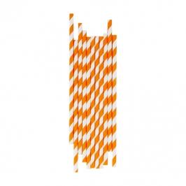 Juego de 25 pajitas naranjas y blancas