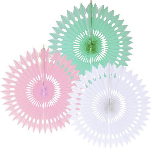 Juego de 3 Abanicos colores Pastel 40cm
