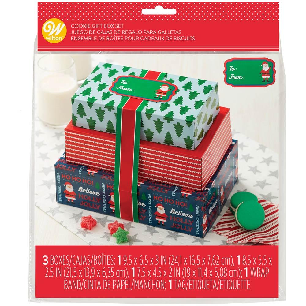 Juego de 3 Cajas de Regalo para Galletas Santa Claus
