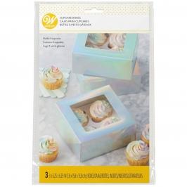 Juego de 3 Cajas para Cupcakes Iridiscente