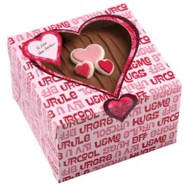 Juego de 3 cajas para dulces corazones rosas