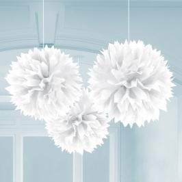 Juego de 3 Pompones Blancos 40 cm