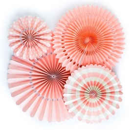 Juego de 4 Abanicos decorativos Coral
