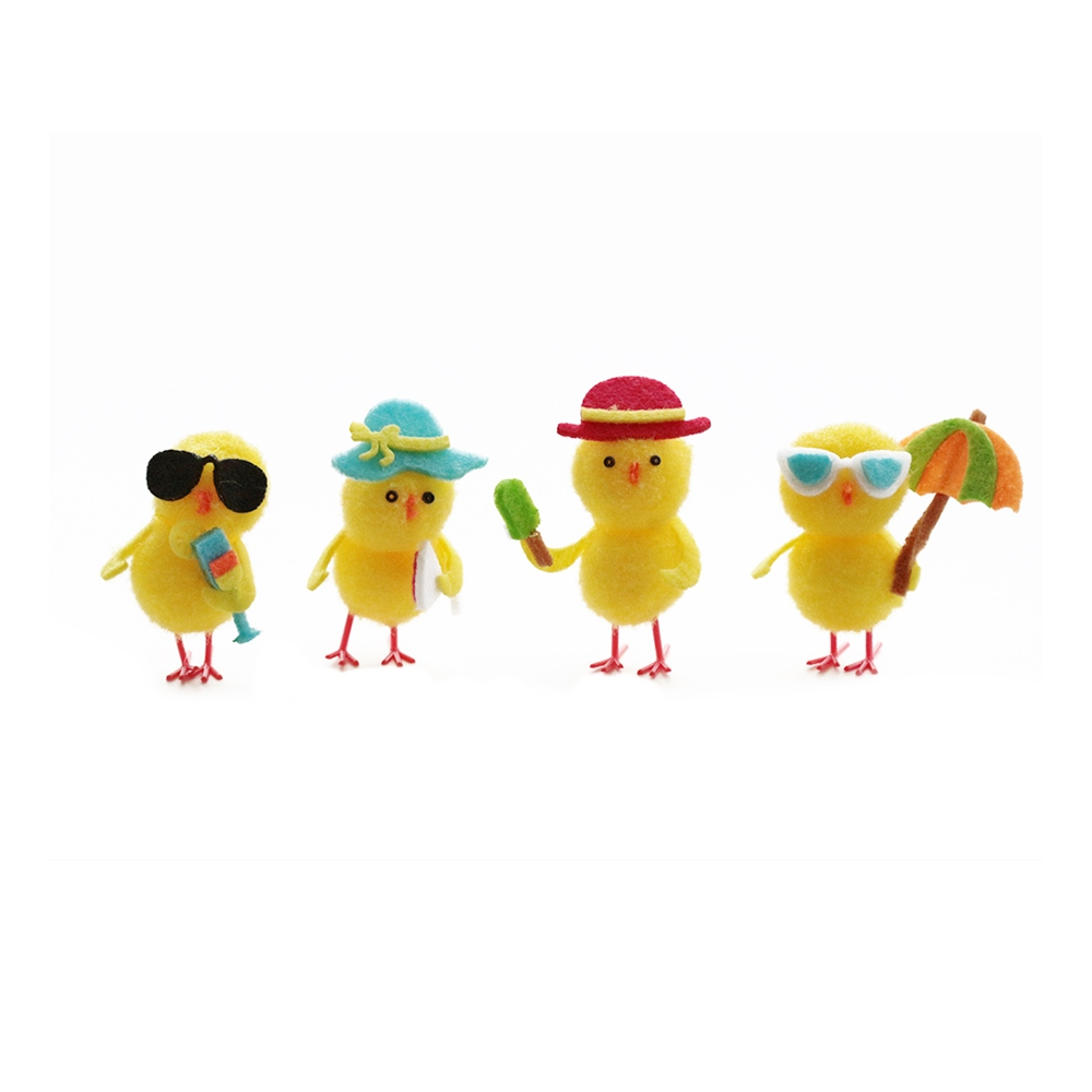 Juego de 4 Pollitos Decorativos Pascua - My Karamelli
