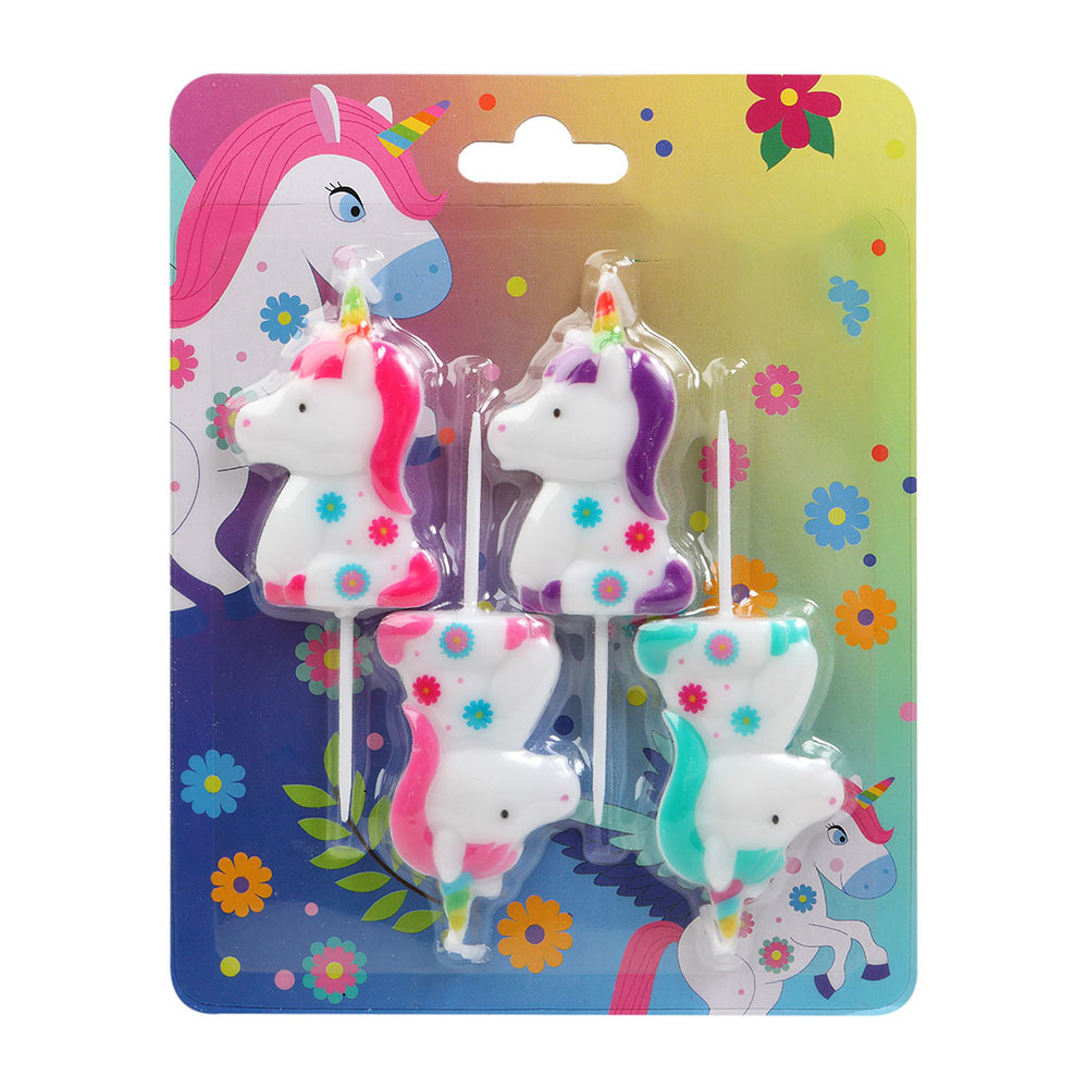 Juego de 4 Velas Unicornio Arcoíris