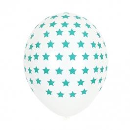 Juego de 5 globos blancos con estrellas azul turquesa