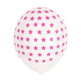 Juego de 5 globos blancos con estrellas fucsias