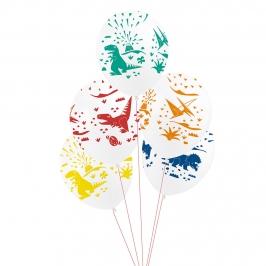 Juego de 5 globos de 30 cm en distintos colores y diseños de dinosaurios