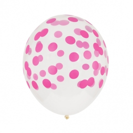 Juego de 5 globos Confeti Fucsia