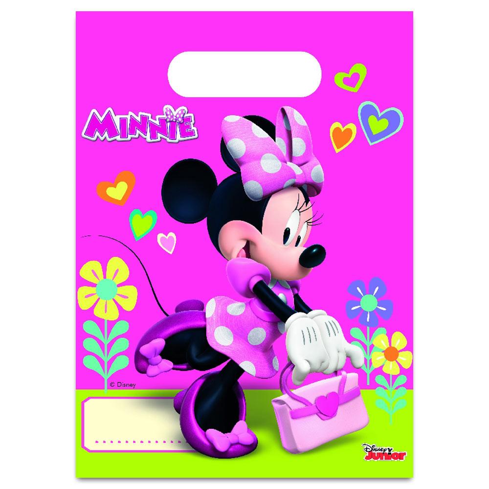Juego de 6 bolsas de plástico para chuches o dulces de Minnie Mouse