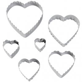 Juego de 6 cortadores doble corte corazón