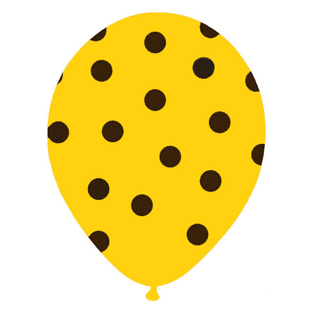 Juego de 6 globos amarillos con lunares negros de 30 cm aproximadamente