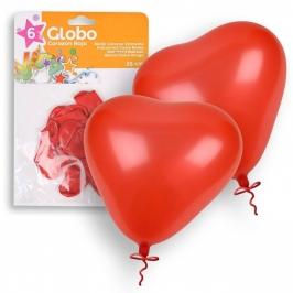 Juego de 6 globos Corazón Rojo 25cm