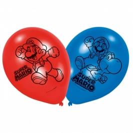 Juego de 6 Globos de Látex Super Mario