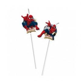 Juego de 6 Pajitas Spiderman