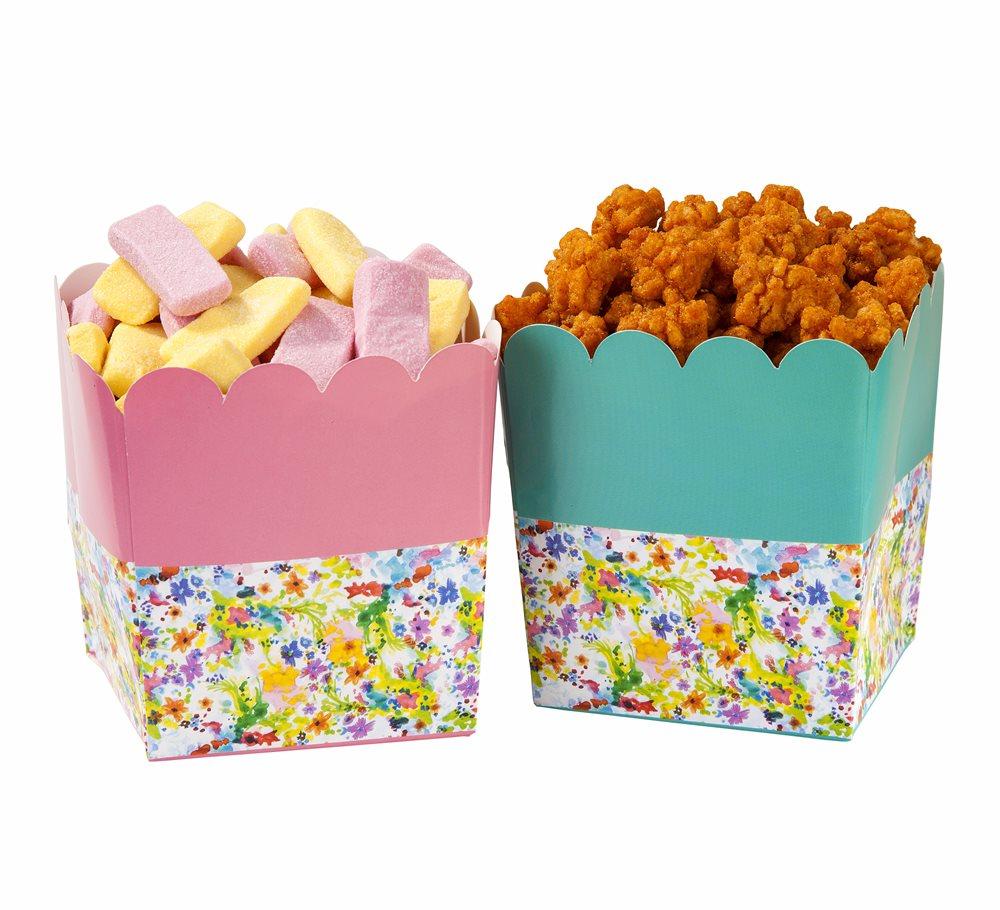 Juego de 6 recipientes florales para dulces