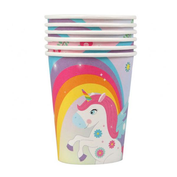 Juego de 6 Vasos Unicornio Arcoíris