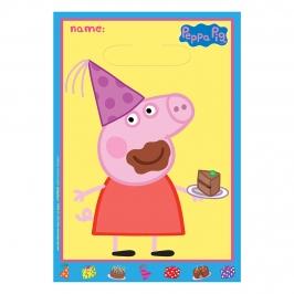 Juego de 8 Bolsas para Chuches Peppa Pig Cumpleaños