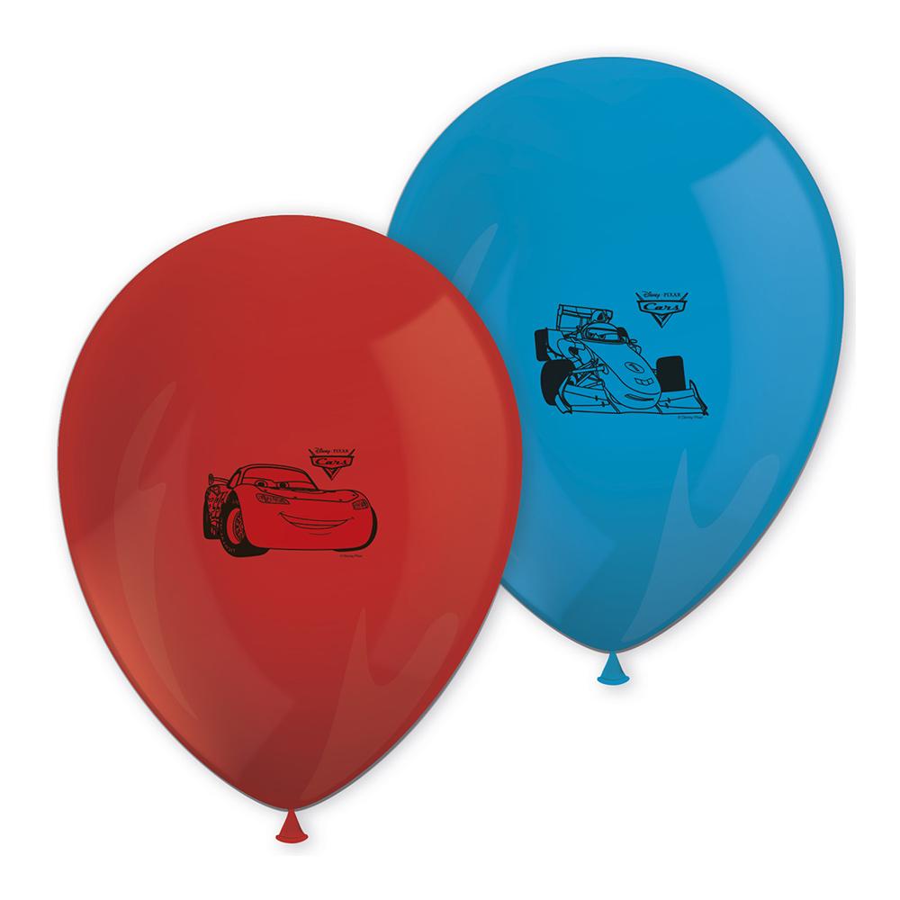 Juego de 8 globos de cars en tonos rojos y azules de 27 cm