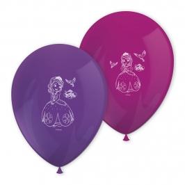 Juego de 8 globos en rosa y lila de Princesa Sofía de 27 cm