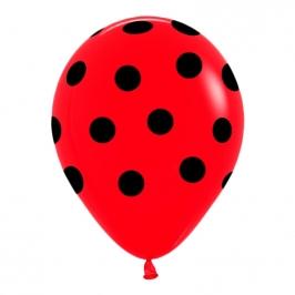 Juego de 8 Globos Rojos con Lunares Negros